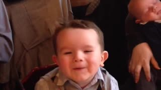 Little boy experiences his first sugar high - Video