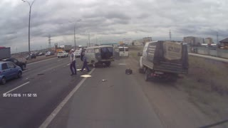 Van Flips on Highway - Video