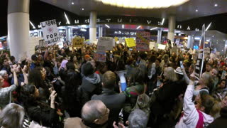 Muslim Travel Ban Demo at LAX  - Video