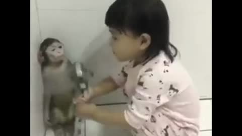 best friends monkey and girl