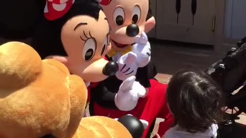 Little Boy Is In For A Surprise When He Meets Mickey And Minnie