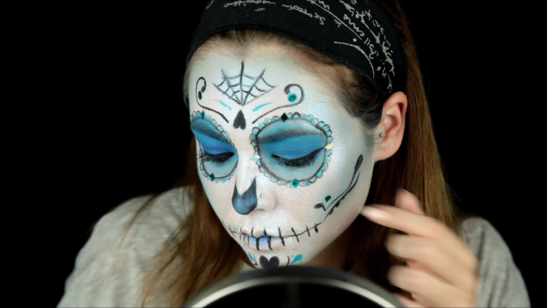 Halloween Makeup Tutorial Sugar Skull Face Paint - Day-of-the-dead-makeup-tutorial-video