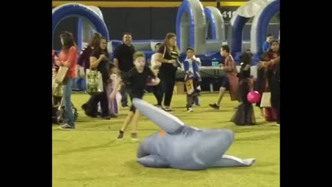 Guy in Shark Costume gets Knocked Out!