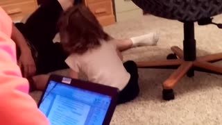 Man And Toddler Spin In Office Chair Until It Dumps Them Out - Video