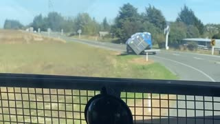 Portable Toilets Spill off Trailer