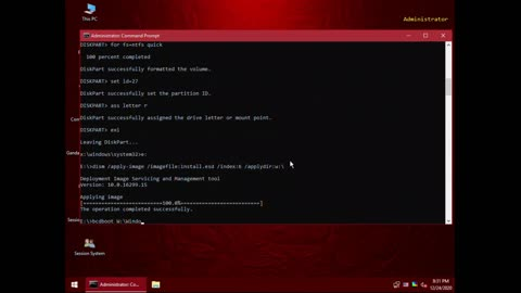 Installing Windows 10 using Gandalf Windows 10 PE x64