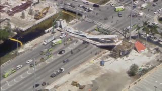 Footage of the aftermath of the FIU bridge collapse in Miami - Video