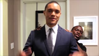 Behind the scenes: Kevin Hart guests on Daily Show with Trevor Noah - Video
