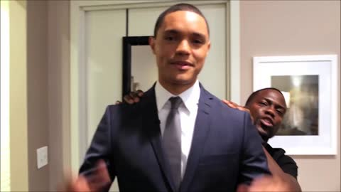 Behind the scenes: Kevin Hart guests on Daily Show with Trevor Noah