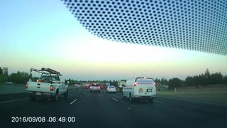 Toyota Highlander Changes Lanes and Crashes When Traffic Stops - Video