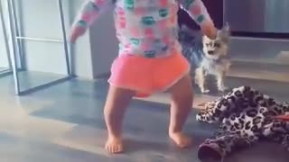 Cute baby dancing and shaking