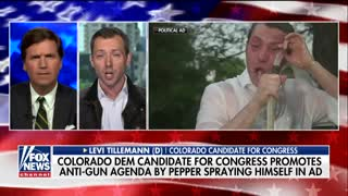 Tucker mocks Democratic candidate who pepper-sprayed himself