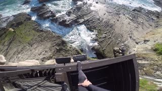 Brave Daredevil Jumps 25 Feet Into A Tiny Pocket Of Ocean - Video
