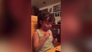 Girl Uses Paintbrush To Apply Lipstick - Video