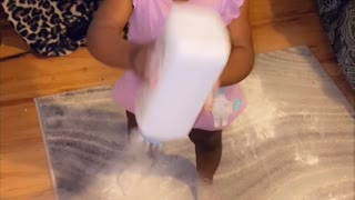 Curious Toddler Makes a Baby Powder Mess