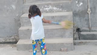How cleanness is important showing by little kid  - Video