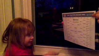 Toddler Picks 2018 NCAA Tournament Bracket  - Video