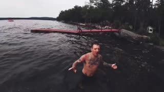 Boy Tries to Muster Up Courage to Jump off Dock to Dad