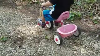 Collab copyright protection - pink tricycle little boy falls over - Video