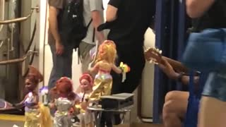 Dancing dolls music played in subway station - Video