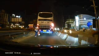 Bus Blinker Catches Fire in Rayong