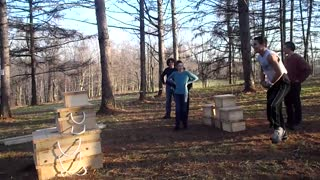 Parkour Fail: Dad Falls Hard Trying To Copy Boys' Stunt