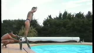 Man Breaks Chair And Belly Flops Jumping Off Makeshift Diving Board