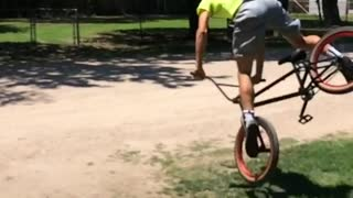 Collab copyright protection - neon shirt 360 bike face plant