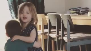 Toddler twins mimic mom & dad's morning goodbyes