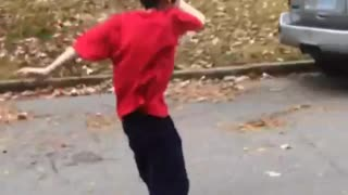 Collab copyright protection - red shirt kid falls off skateboard