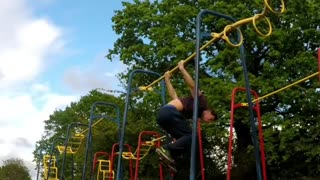 Collab copyright protection - monkey bars guy loses hat falls back - Video