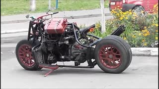 Fantastic motorbike made from a car. - Video