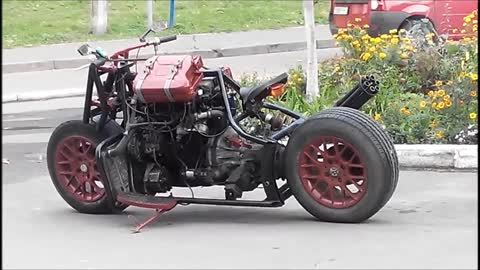 Fantastic motorbike made from a car.