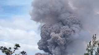 Billowing Smoke From the Active Volcano - Video