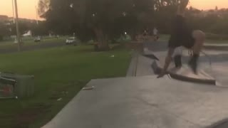 Skateboard flies into air guy fail