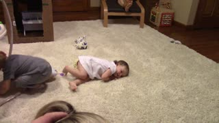 Adorable toddler practices emergency drills - Video