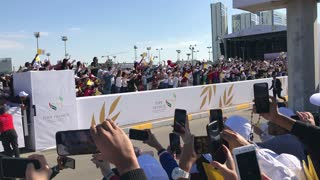 Crowds Cheer as Pope Francis Drives By