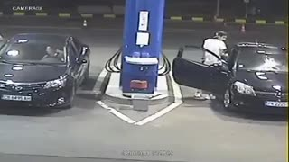 Guy Refuses To Put Cigarette Out At Gas Station, So He Did It For Him