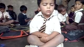 Funny sleeping at school boy