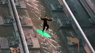 Water on subway rail tracks rat surfer emojis - Video