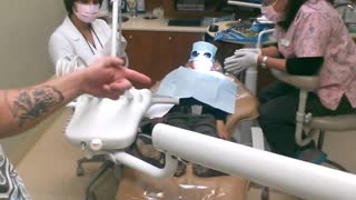 Second filling at the dentist for the 4 year old boy. - Video