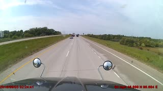 Silver Sedan Brake Checks Semi Only To Get A Pat On The Rear Bumper - Video