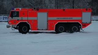 Fire Truck Does Some Snow Drifting
