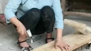 The girl made a wooden trolley  - Video