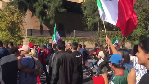 Tijuana residents march in protest of Central American migrants staying in city shelter