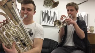 Super Mario theme masterfully played on trumpet & euphonium