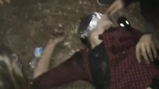Pie on passed out man - Video