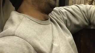 Sleeping beanie guy with hand in pocket snores on subway - Video