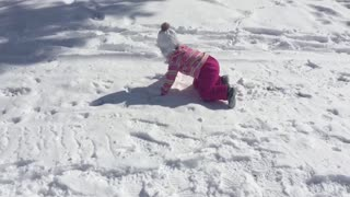 Younger sister fails while sledding - Video