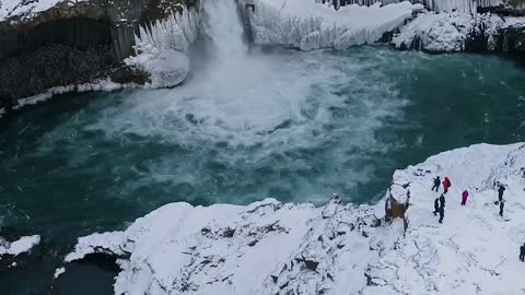 Waterfall and winter